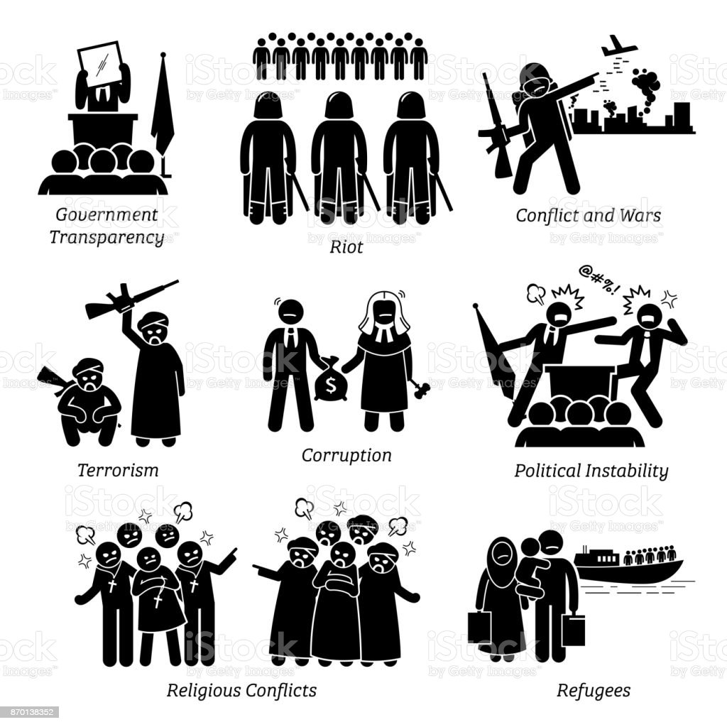 Social Issues World Problems Pictogram Icons. vector art illustration
