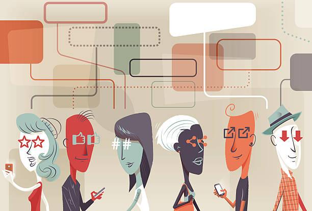 Social looks vector art illustration