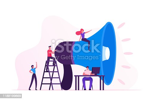 Social Marketing Concept. Men and Women Characters Promoting Online in Social Network Using Laptop and Huge Megaphone. Public Relations and Affairs, Communication, Pr. Cartoon Flat Vector Illustration