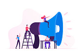istock Social Marketing Concept. Men and Women Characters Promoting Online in Social Network Using Laptop and Huge Megaphone. Public Relations and Affairs, Communication, Pr. Cartoon Flat Vector Illustration 1188199869