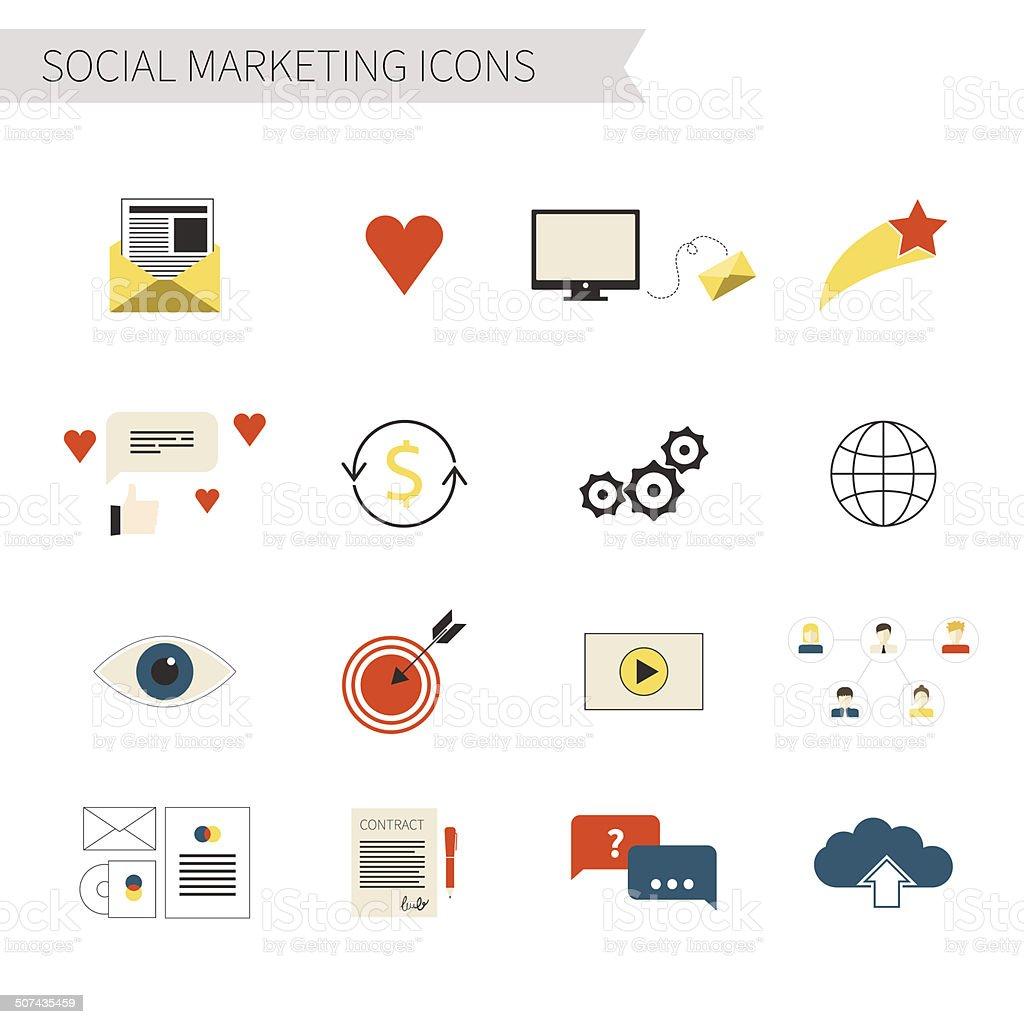 Social Marketing Icons vector art illustration