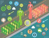 Social media activism concept with virtual tech icons