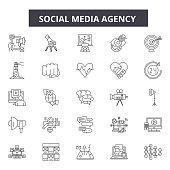 Social media agency line icons, signs set, vector. Social media agency outline concept illustration: business,agency,social,media,demarketing,flat,technology,web
