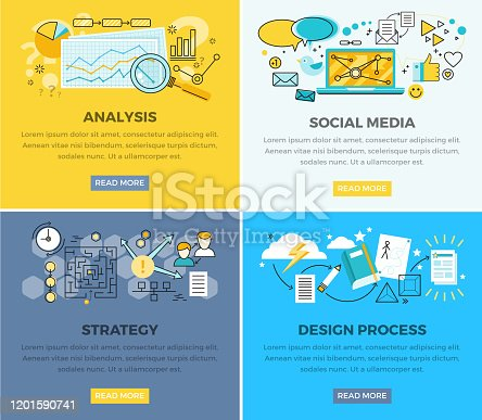 Social media analysis and design progress strategy vector web poster. Magnifying glass on paper with diagram, laptop and users signs around, strategy plan and process of creating new elements