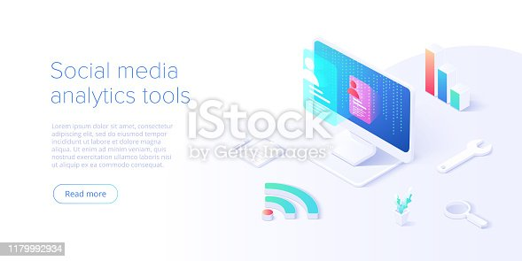 Social media analysis concept in vector illustration. User or follower activity and network statistics. Creative website layout or landing page template. Web banner concept.