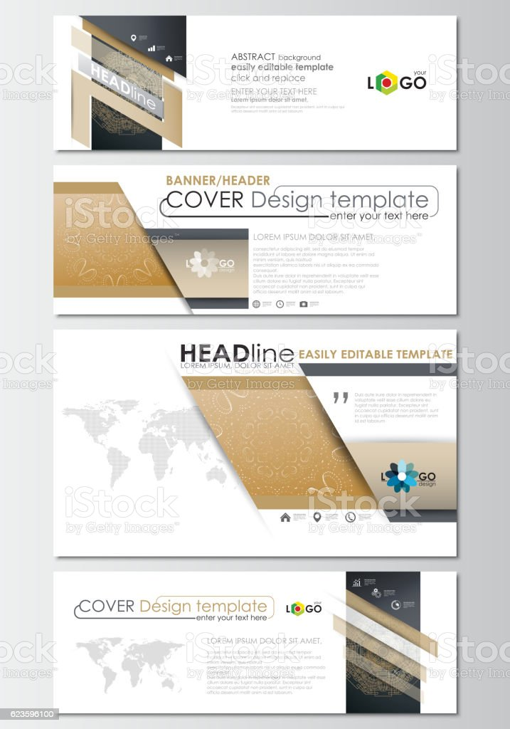 Social Media And Email Headers Set Modern Banner Templates Cover Royalty Free