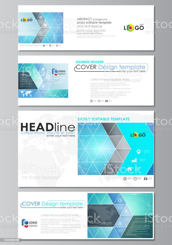 social media and email headers set modern banners abstract design