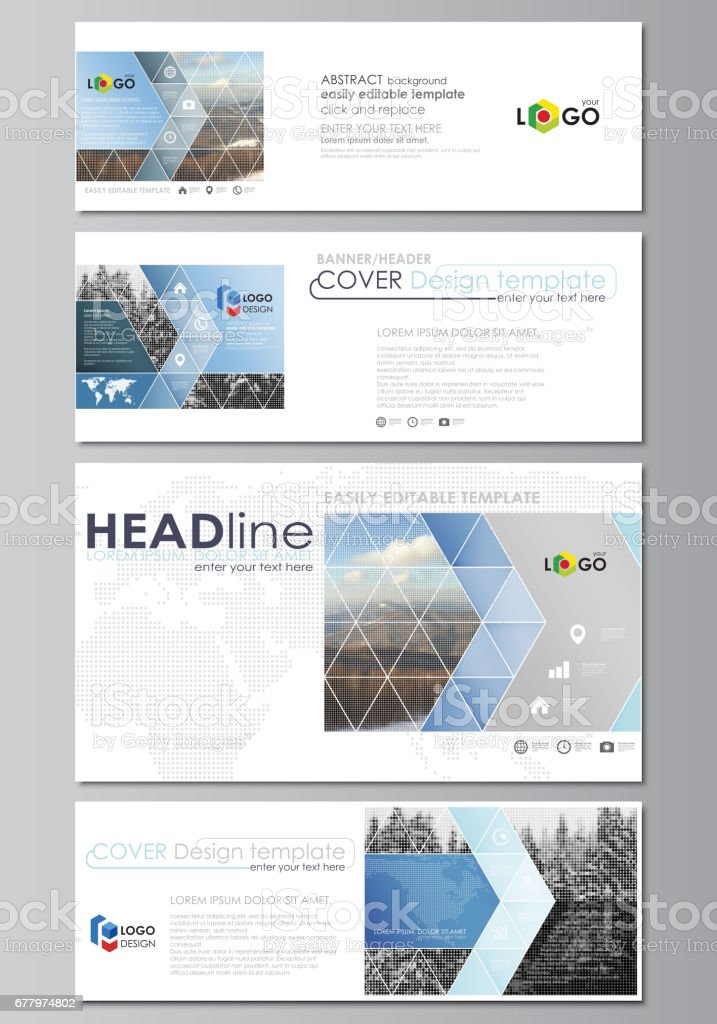 social media and email headers set modern banners business design