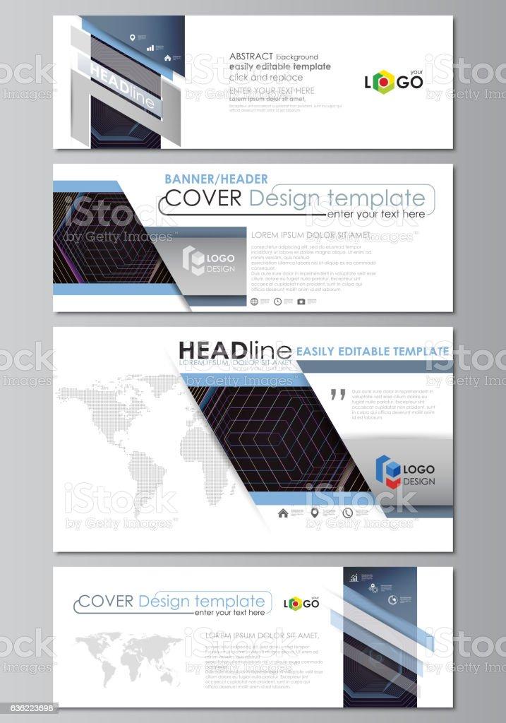 Sozialen Medien Und Emailheader Set Moderne Banner Businessvorlagen ...