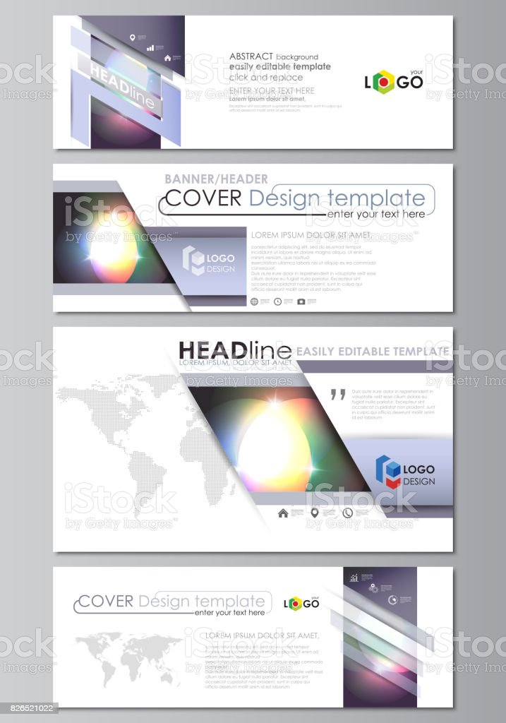 social media and email headers set modern banners business templates