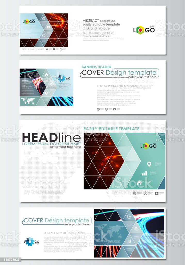 Social Media And Email Headers Set Modern Banners Business Templates Cover Template