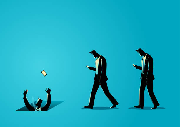 Social media and gadget impact Concept illustration of men with cellular phones, concept for ignorance, social media impact careless stock illustrations