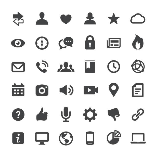 social media und internet icons - serie big - telefone stock-grafiken, -clipart, -cartoons und -symbole