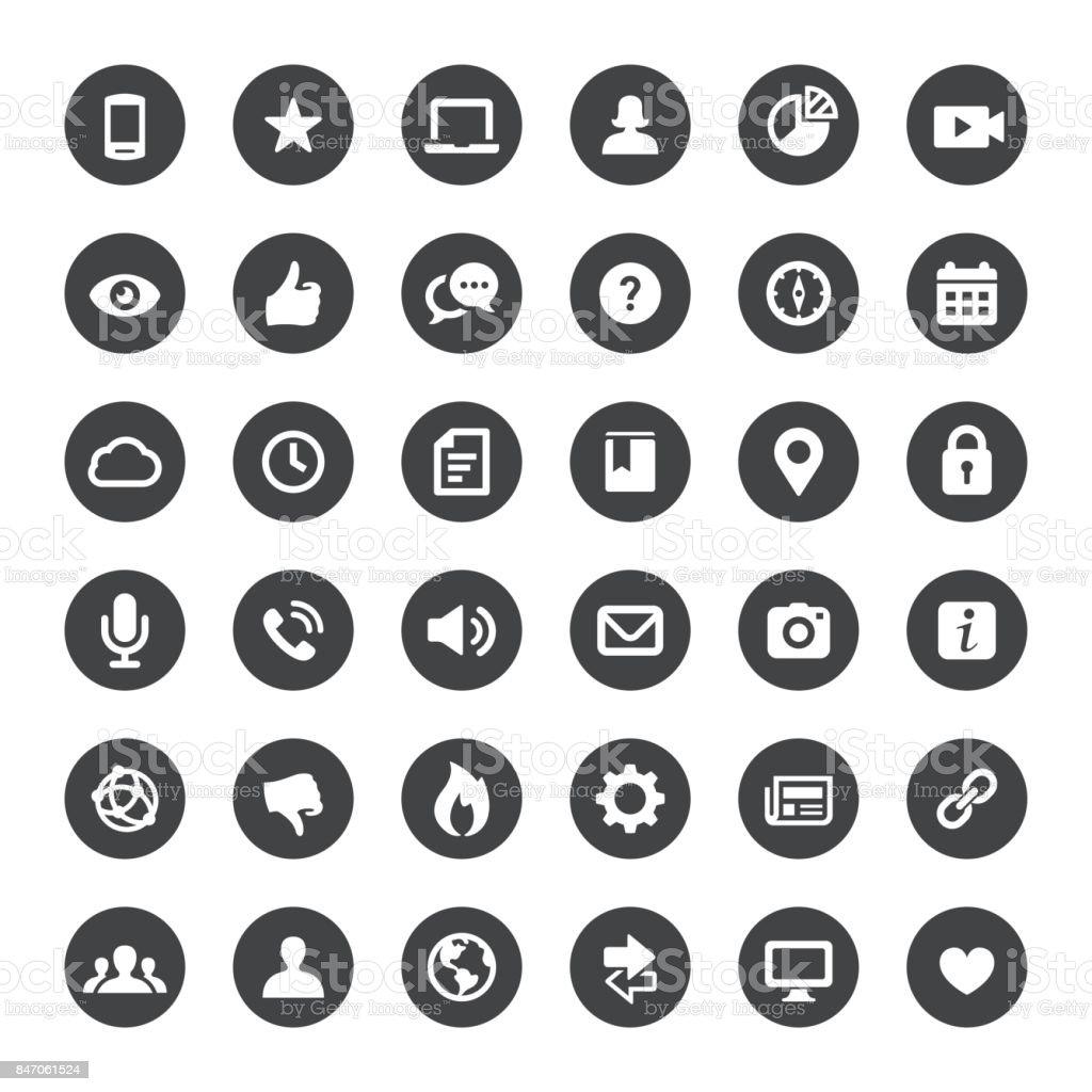 Social Media and Internet Vector Icons vector art illustration
