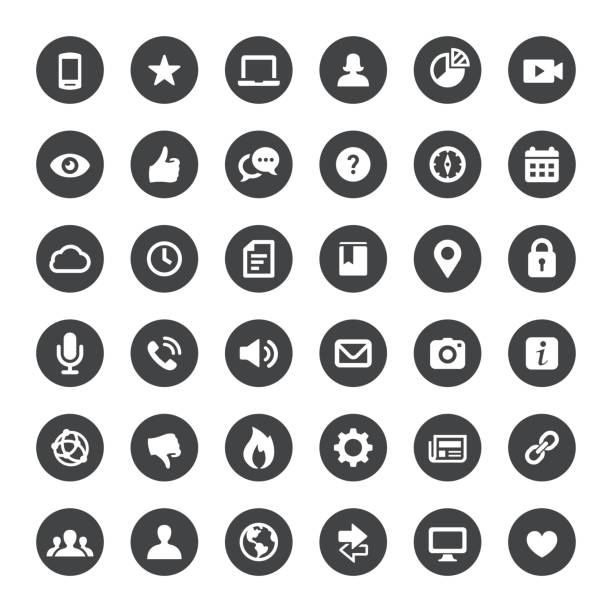social media und internet-vektor-icons - social media icons stock-grafiken, -clipart, -cartoons und -symbole