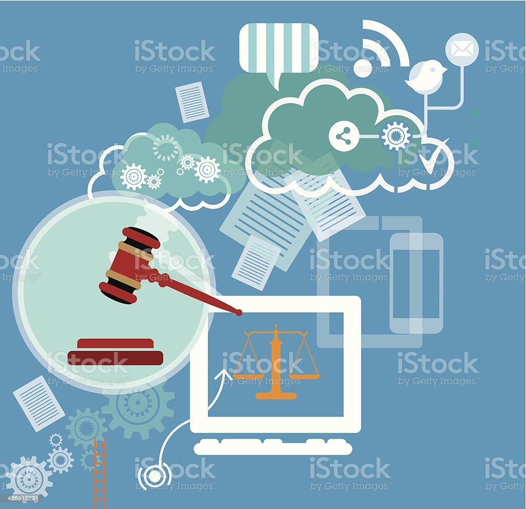 Social Media and Law vector art illustration
