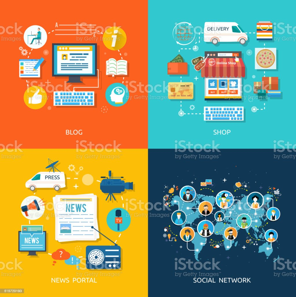 Social media and network connection concept vector art illustration