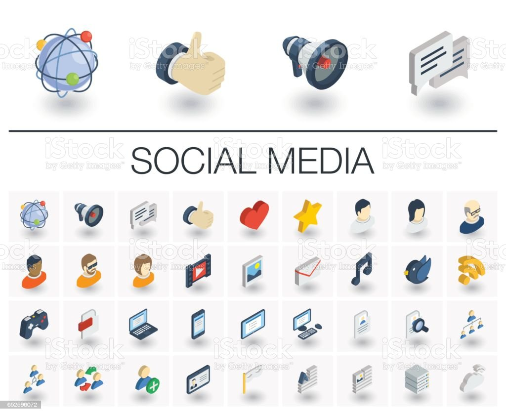 Social media and network isometric icons. 3d vector
