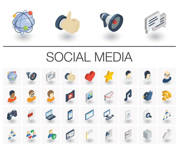 social media and network isometric icons. 3d vector - 3d icons stock illustrations, clip art, cartoons, & icons