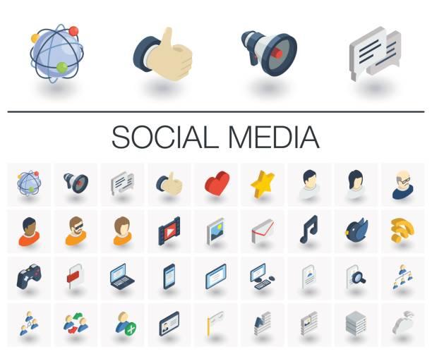 Social media e rede ícones isométricos. 3D vector - ilustração de arte em vetor