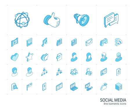 Social media and network isometric line icons. 3d vector