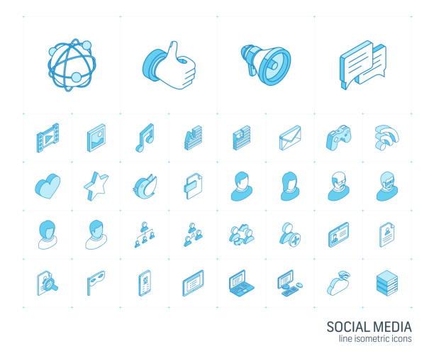 social media und netzwerk isometrische liniensymbole. 3d-vektor - isometric icons stock-grafiken, -clipart, -cartoons und -symbole