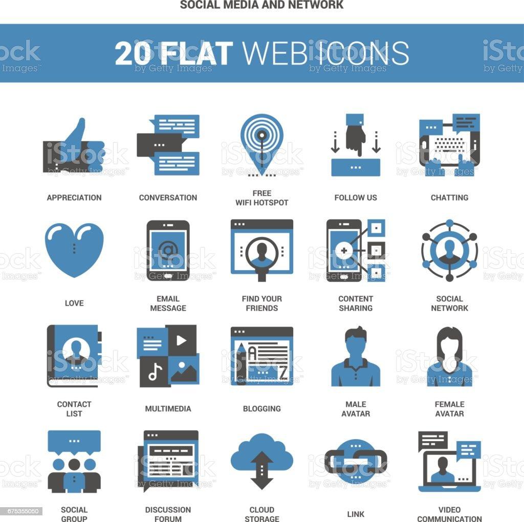 Social Media and Network vector art illustration