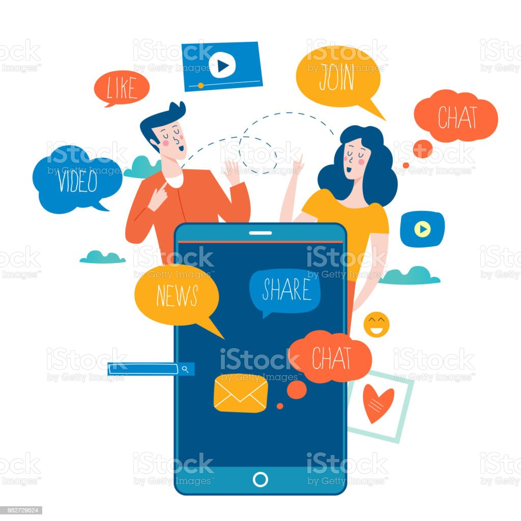 Social media and networking vector art illustration