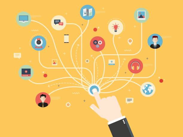 Social media and social network concept Connection hand with icons social media or social network. Concept communication and integrated in internet, marketing and internet business. Flat design vector illustration. changing form stock illustrations