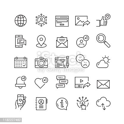 Social Media and Social Network Related Vector Line Icons