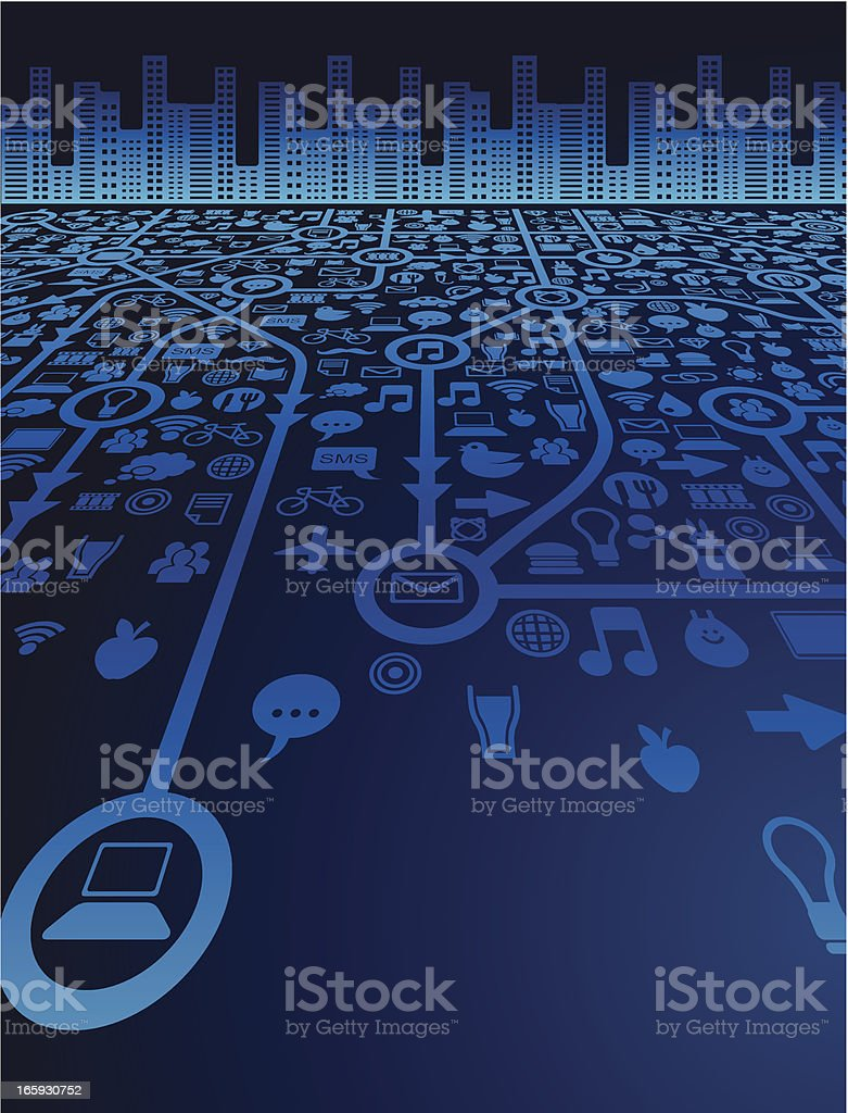 Social media and the city royalty-free stock vector art