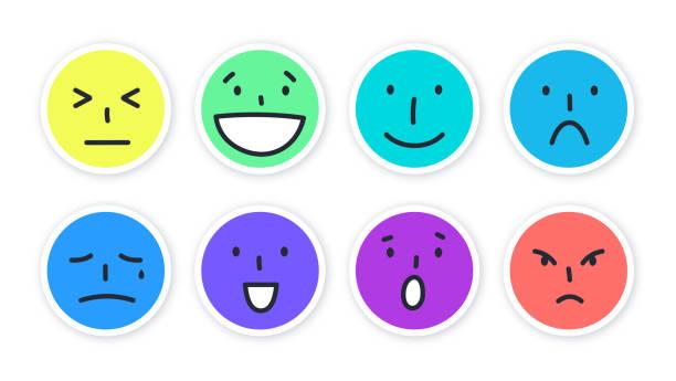 social media wütend glücklich traurige lachende gesicht emojis - smileys zum kopieren stock-grafiken, -clipart, -cartoons und -symbole