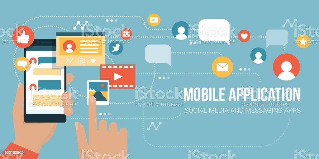 Social media app on a smartphone vector art illustration
