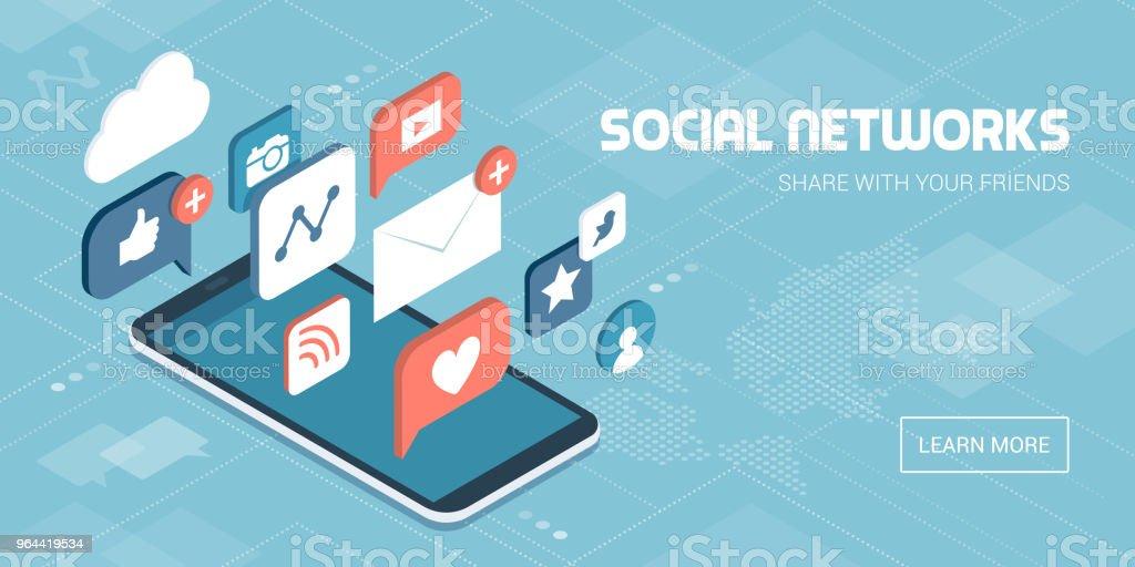 Social media apps on a smartphone vector art illustration