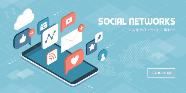 social media apps on a smartphone - social media stock illustrations