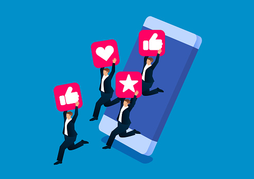 Social media attracts business people to jump out of mobile phones