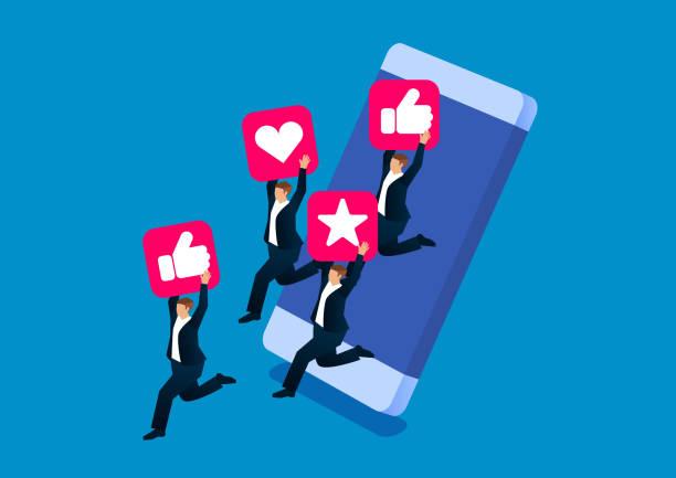 ilustrações, clipart, desenhos animados e ícones de mídia social atrai empresários para saltar de telefones celulares - social media
