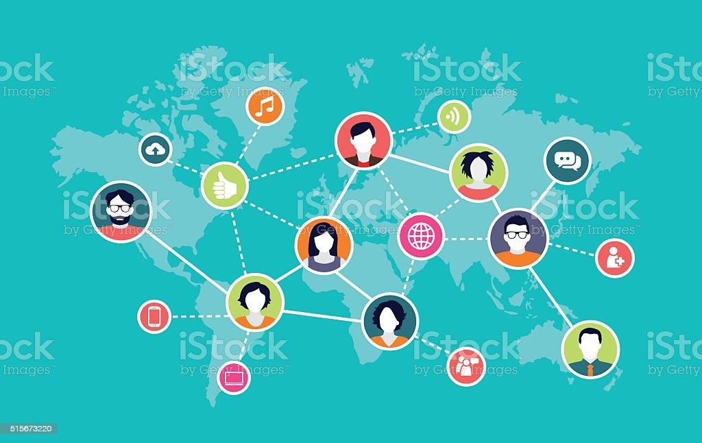 Social Media Background vector art illustration