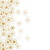 Social media background vector with copyspace. Hearts and likes border.