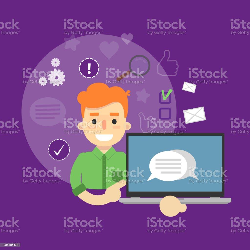 Social media banner. Boy with laptop vector art illustration