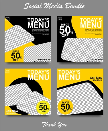 Social media banner for food and drink business. Food social media template for restaurant business. Modern social template post banner. Food discount post template.