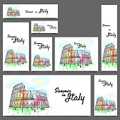 Social media banner set for summer holidays in Italy concept.