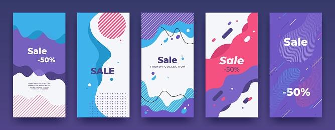 Social Media Banner Story Sale Swipe Up Template Sale Price Vertical Poster Pack Mobile App Promo Vector Landing Frame Set Stock Illustration - Download Image Now