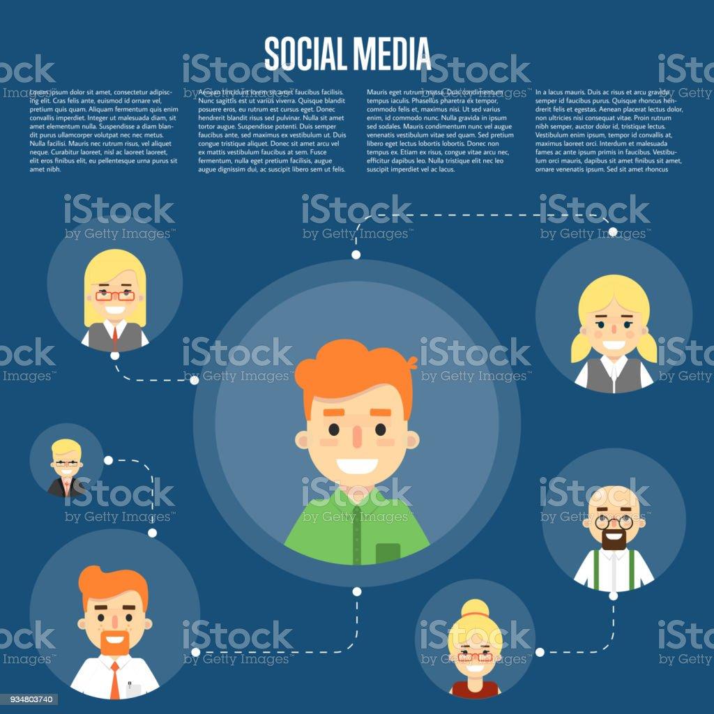 연결 된 사람들과 소셜 미디어 배너 - 로열티 프리 가상현실 벡터 아트