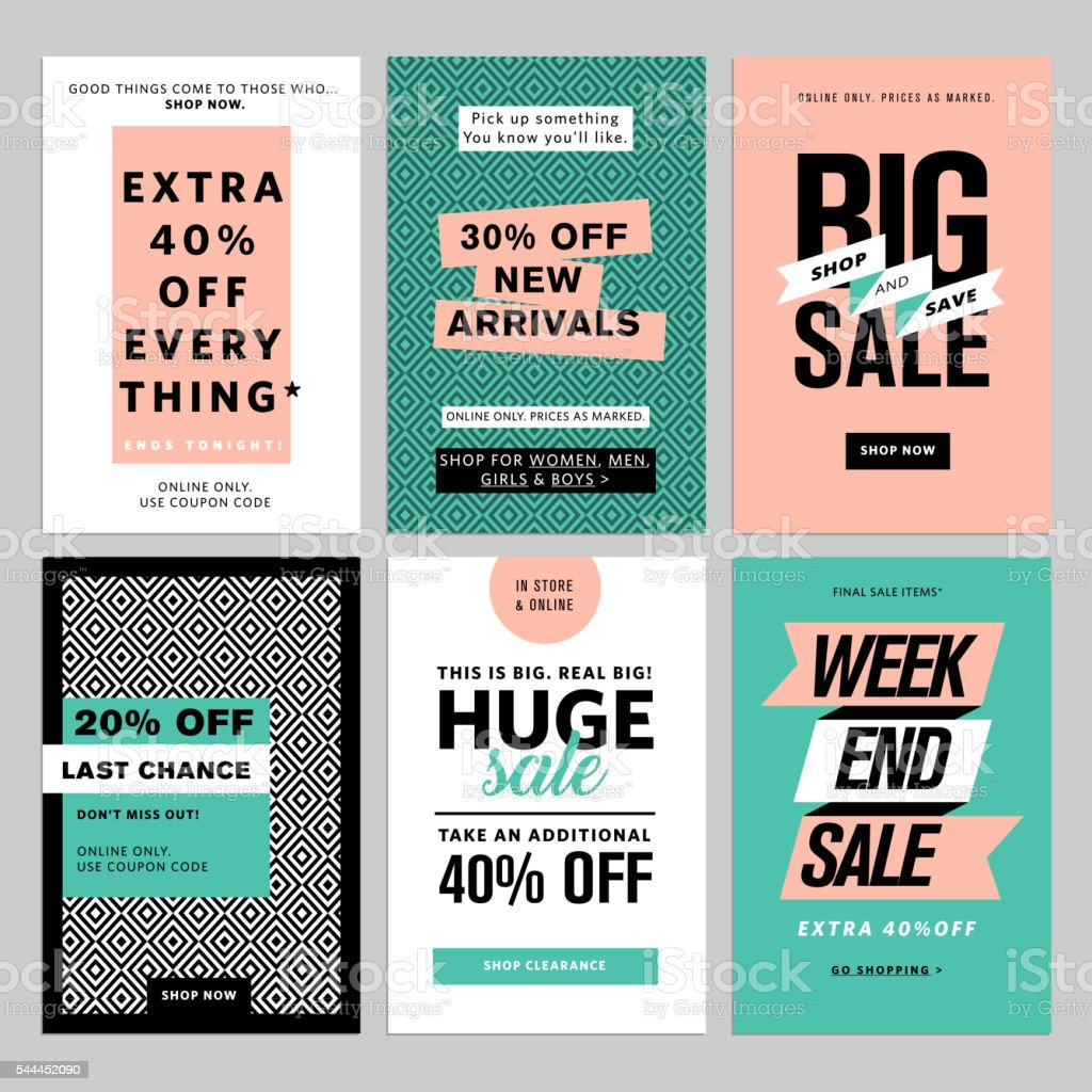 Social media banners pack Social media banners pack. Vector illustrations for website and mobile website banners, posters, email and newsletter designs, ads, coupons, promotional material. Advertisement stock vector