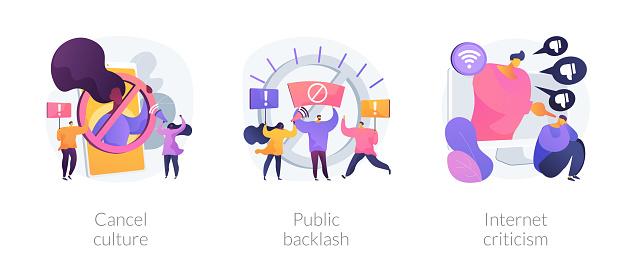 Social media behavior abstract concept vector illustrations.