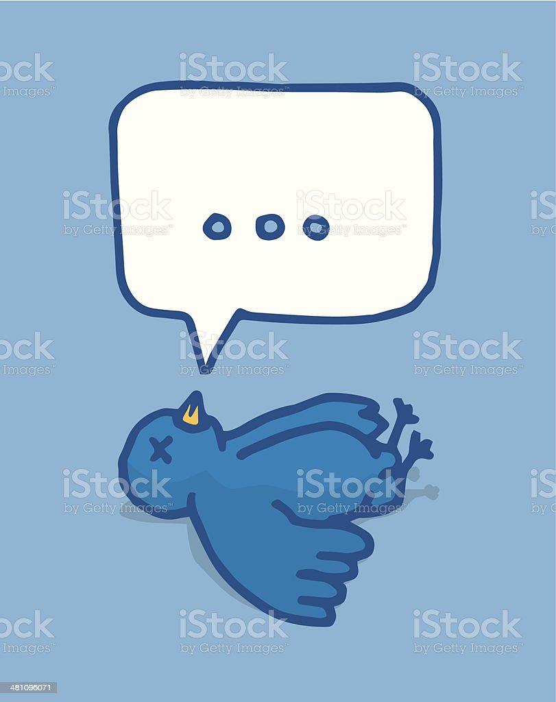 Social media bird lying dead vector art illustration