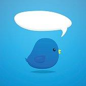 Social media blue bird cartoon vector