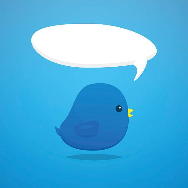 Social media blue bird cartoon vector vector art illustration