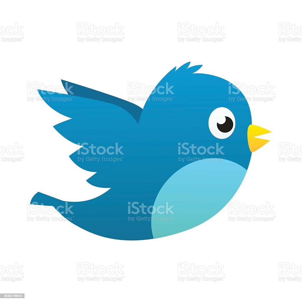 Social media blue bird Social media blue bird vector isolated 2016 stock vector